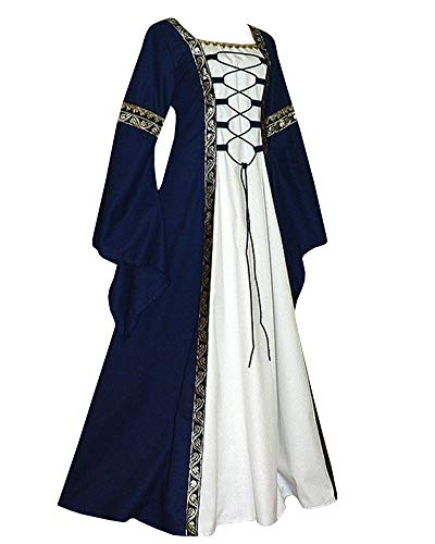 Qianshan Maomo Womens Vintage Dresses Celtic Long Sleeve Medieval Maxi Dresses Renaissance Gothic Cosplay Dress Navy]()