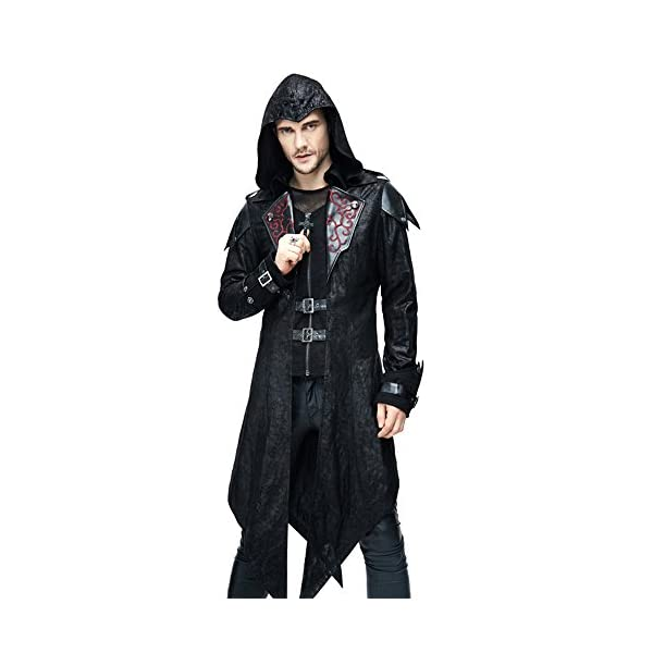 Devil Fashion Punk Men Jackets Faux Leather Steampunk Gothic Swallowtail Coats Autumn Winter Long Hooded Coats Overcoat 3