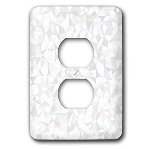 David Mosaic - 3dRose David Zydd - Triangle Backgrounds - White irregular triangle mosaic design - Light Switch Covers - 2 plug outlet cover (lsp_289060_6)