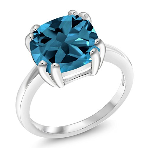 Gem Stone King London Blue Topaz 925 Sterling Silver Ring (4.35 Cttw, 10MM Cushion Cut, Available 5,6,7,8,9) (Size 7)