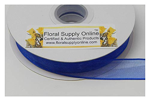 #3 Monofilament Edge Sheer Organza Ribbon for Floral, Fashion, Craft, Scrapbooking, Gift Wrapping, Hair Bows, Wedding, Baby Shower, and Decorating Projects.(5/8 Inch x 25 Yard, Royal)