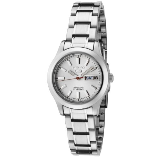 Seiko Women's SYMD87 Seiko 5 Automatic Light Silver Dial Stainless Steel Watch (Womens Light Dial Silver)