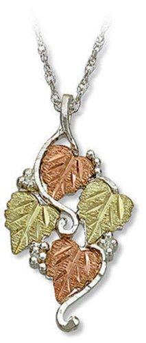 - Landstroms Sterling Silver Ladies Pendant Necklace with 12k Black Hills Gold Leaves, 18