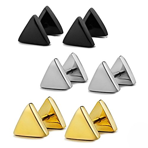 3 Pairs Assorted Color Men Women Titanium Steel Fashion Triangle Stud Earrings Hypoallergenic Piercing Jewelry 6mm Diameter