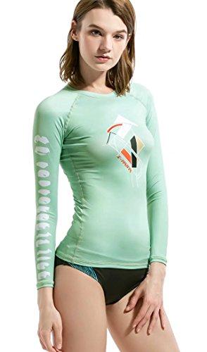 Rash Guard Women, DIVE & SAIL UPF 50+ UV Sunblock Swim Shirts Fast Dry Long Sleeve Surf Rashguard Tee