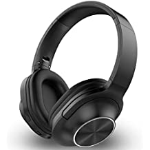 Over-Ear Headset Wireless Bluetooth Headphones Hi-Fi Stereo Wireless Headset Fordable Soft Memory-Protein Running Collapsible Headsets for Cellphones PC (Black)