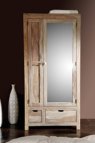 palisander holz massiv garderobe sheesham massivm bel nature grey 197 online bestellen. Black Bedroom Furniture Sets. Home Design Ideas