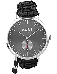 Handcrafted Watch with Black Paracord Bracelet Band – Swiss Quartz Movement with Second Counter – Men's and Women...