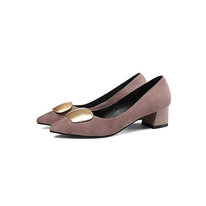 Zhznvx Scarpe Da Donna Suede Summer Comfort Heels Chunky Heel Black pink