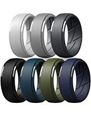 ThunderFit Silicone Wedding Rings for Men - 7 Rings / 4 Rings / 1 Ring - Step Edge Breathable Edition Rubber Engagement Bands 10mm Wide - 2.5mm Thick