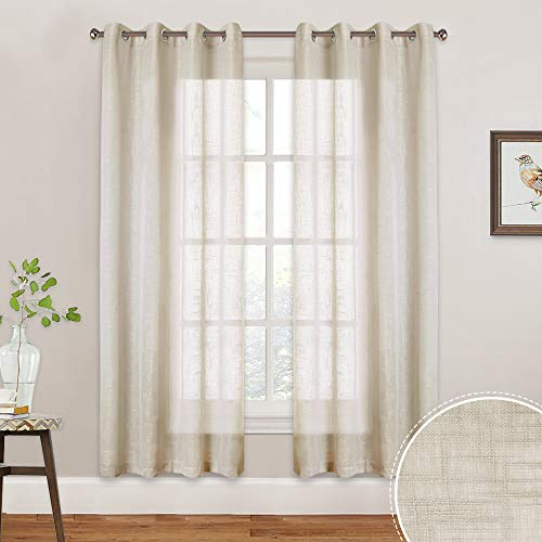 RYB HOME Sheer Window Curtain, Semi Voile Panels with Casual Linen Wave Pattern, Contemporary Privacy Farmhouse Sheer for Kids Room/Living Room/Cottage, W 52 x L 72 inch, Set of 2, Warm Beige
