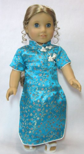 [Cheongsam Dress in Turquoise with White Sandals. Fits 18