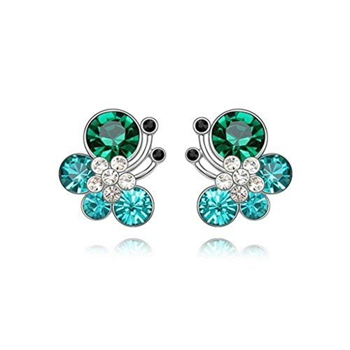 18K Gold Plated Womens Girls Earrings Butterfly Stud Mix Green - Aooaz Jewelry