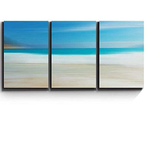 3 Piece Canvas Print - Contemporary Art, Modern Wall Decor - Beach and Surf Abstract Landscape - Giclee Artwork - Gallery Wrapped Wood Stretcher Bars - Ready to Hang- Wall26 - 24