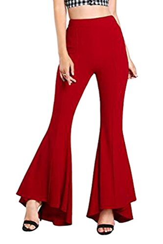Elegantes Mujeres Elastica Ancha Pierna De Cintura Palazzo Alta Zojuyozio  Rojo Las Pantalones ER5wwB d33b87c10834