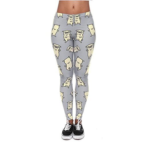 YoungG-3D Fashion Pugs Dance 3D Printing Legging Women's Leggings Stretchy Trousers Casual Pants Leggings 1 One Size ()