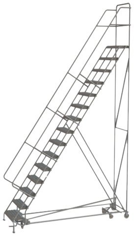 Tri-Arc KDAD115242 15-Step All-Directional Safety Angle Steel Rolling Industrial & Warehouse Ladder with Grip Strut Tread