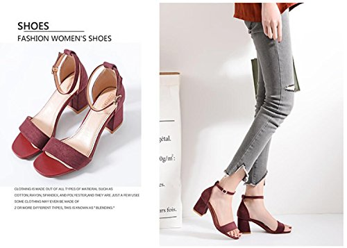 Shoes Pantoufles Simple Chaussures Strappy Mode Cheville Ladies Soirée Block DANDANJIE Party Rouge strapsandals Womens Haut Talon 5AxqYA1g8n