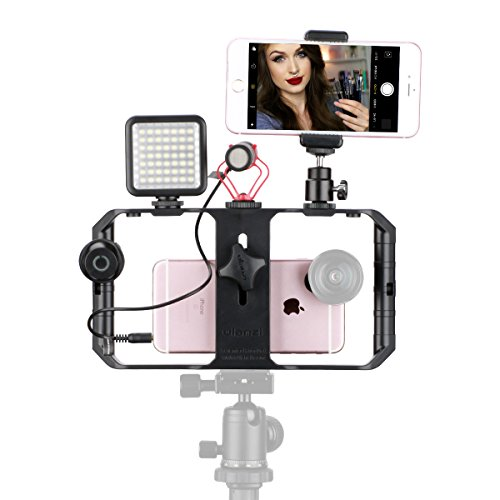 Ulanzi Smartphone Video Shooting Kit - U rig Pro Video Rig + Boya BY-MM1 Microphone + 49 LED Video Light + Clip on Remote Control + Cold Shoe Mount Ball Head +Universal Phone Clip for iPhone by ULANZI