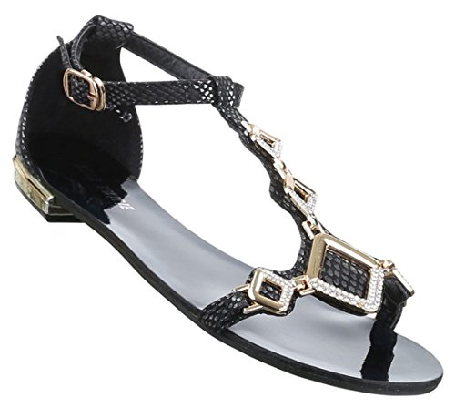 Damen Sandalen Schuhe Dianetten Strass Damenschuhe Damenschuhe Schwarz 36 37 38 39 40 41 Schwarz