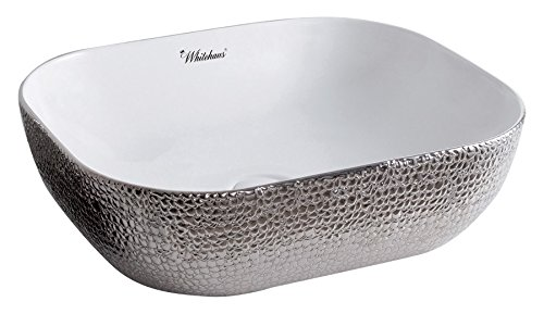 (Whitehaus Collection WH71302-F21 Isabella Plus Collection Rectangular Above Mount Basin with an Embossed Exterior, Smooth Interior, and Center Drain,)