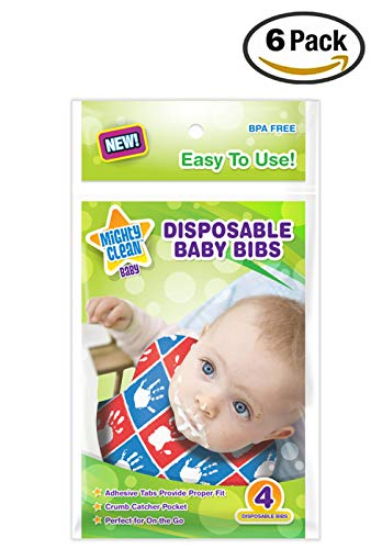 - Mighty Clean Baby Disposable Baby Bibs 24 Count (4 Bibs per Package)