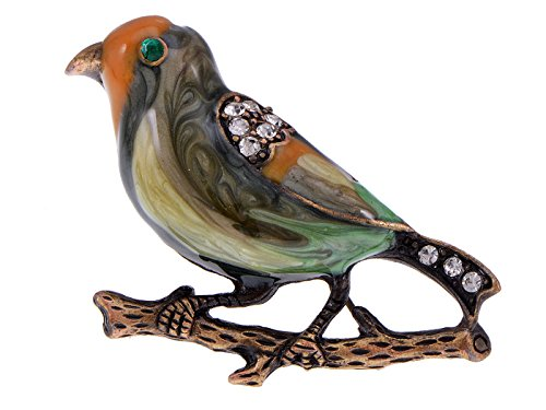 Alilang Antique Golden Clear Crystal Colored Rhinestones Multi Bird Sparrow Brooch Pin