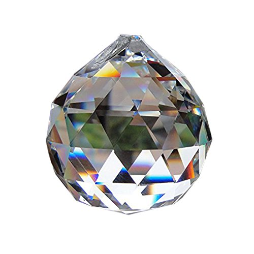 40mm Clear Crystal Ball Prisms Pendant Feng Shui Suncatcher Decorating Hanging Faceted Prism ()