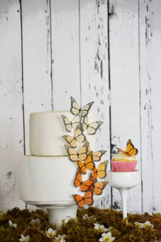 Edible Butterflies © - Ombre Monarch Orange- Set of 12 - Cake and Cupcake Toppers, Decoration ()
