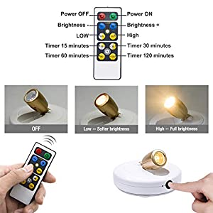BIGLIGHT Wireless Spotlight, Battery Operated Accent Lights, LED Puck Light,Dimmable Uplight with Remote, Stick on Anywhere for Lighting up Painting Picture Artwork Closet, Warm White, 2 Pack