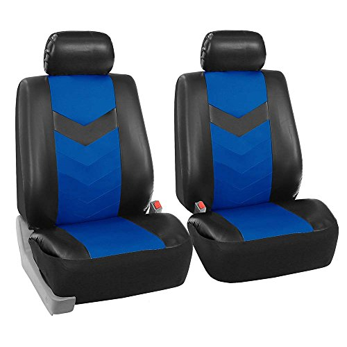 FH GROUP FH-PU021102 Synthetic Leather Pair Set Car Seat Covers Airbag Compatible, Blue / Black Color- Fit Most Car, Truck, Suv, or Van