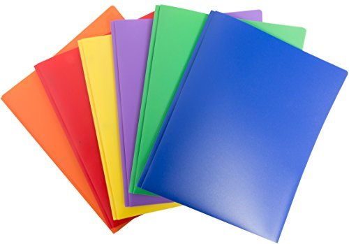Blue Summit Supplies 6 Pack Multicolor Plastic Two Pocket Folders, Plastic Folders with 2 pockets and business card slot, 2 pocket plastic folders for school, home, and work, 6 pack plastic folders