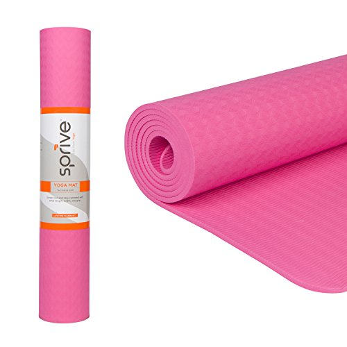 Sprive Single Color TPE Mat (6mm) for Yoga, Pilates, Burpee, Core Exercises, Health, Fitness, Interval Training. Extra length and width...  yoga mat zenergy 410I2zNlC4L