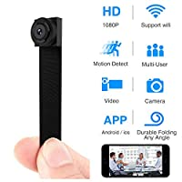 Hidden Spy Camera, 1080P WiFi Mini Camera Portable Wireless Security Cameras with Motion Detection Alarm Remote Home Covert Nanny Cam(Upgraded Version)
