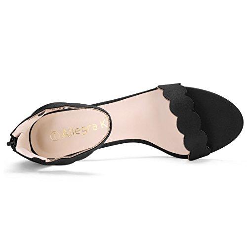 Toe Heels Block Allegra Women K Black Scalloped Open qwzf8tpS