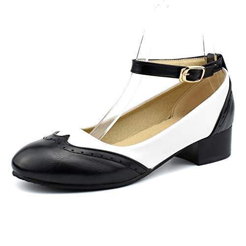 100FIXEO Women Ankle Strap Low Heel Pumps Saddle Oxford Shoes (8 M US, Black 2)