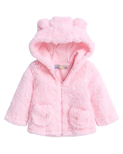 Kidsform Baby Girls Boys Fleece Hoodie Jacket Coat Cloak Winter Warm Outwear Cardigan With Ears Pink 4-5Y Bear Fleece Hoodie
