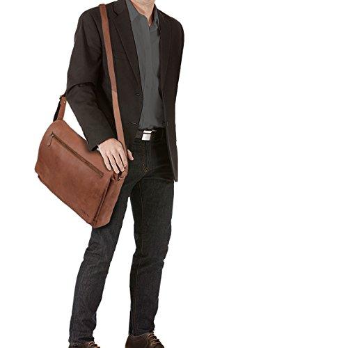 STILORD 'Jan' Vintage Maletín para el ordenador portátil 15.6 pulgadas Bolso Bandolera cuero auténtico de búfalo, Color:cognac - brillante silla - marrón