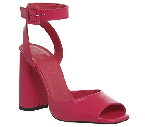 Office Heartly Ankle Strap Block Heels Pink Leather mxLWxj