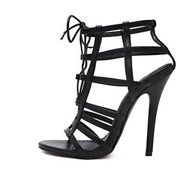 LvYuan zapatos del club de sandalias de verano microfibre vestido de tacón de aguja con cordones Pink