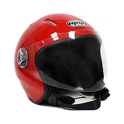 MMG 51 Motorcyle Helmet Pilot Red - Open Face Flip Up Shield DOT Street Legal (Large) by MMG