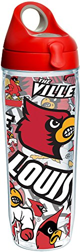 Tervis 1251564 NCAA Louisville Cardinals All Over Water Bottle, 24 oz, Clear