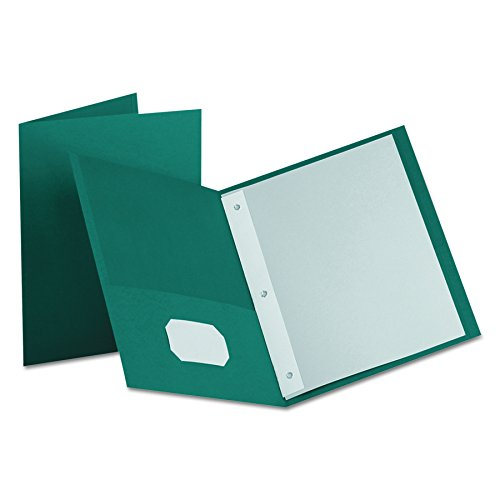Oxford Two-Pocket Portfolios w/3-Tang Fasteners, Teal, Letter Size, 25 per Box, (57755EE) ()