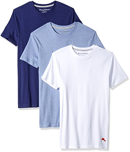 Bahama Heather (Tommy Bahama Men's Breathe Easy 3 Pack Crew Neck T-Shirt, White, Blue Heather, Deep Cobalt, S)