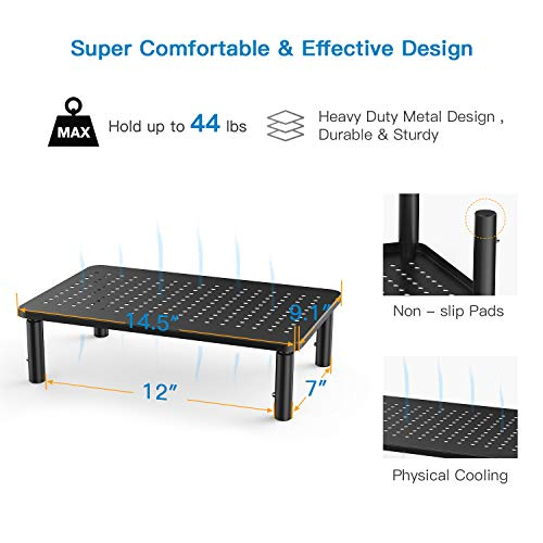 Monitor Stand Riser - 3 Height Adjustable Monitor Stand for Laptop, Computer, iMac, PC, Printer, Desktop Ergonomic Metal Monitor Riser Stand with Mesh Platform for Airflow by HUANUO by HUANUO (Image #3)