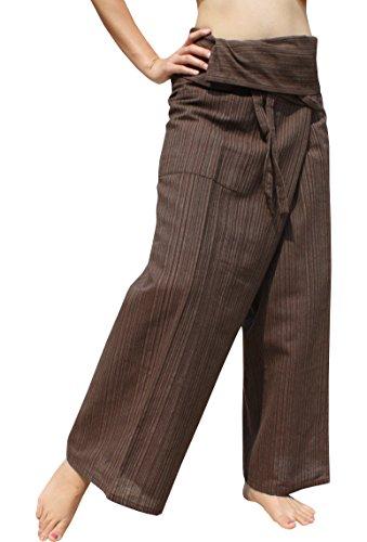 RaanPahMuang Light Striped Cotton Tall Thai Fisherman Wrap Pants Plus, XX-Large, Midnight ()