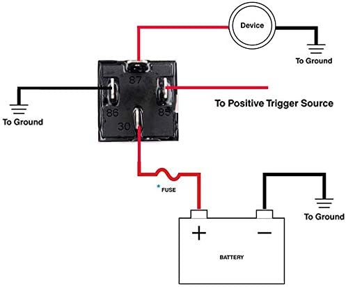 Paquete de 2 Rel/é de Fusible de Encendido//Apagado de 12 V 30A autom/óvil 4-Pin Fusible Montaje z/ócalo con Cables de 14 AWG para Servicio Pesado