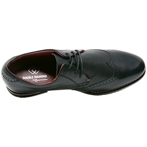 Suizo Alpino Con Doble Diamante De Oxfords Para Hombre Zapatos De Vestir Con Punta De Ala De Cuero Genuino Negro