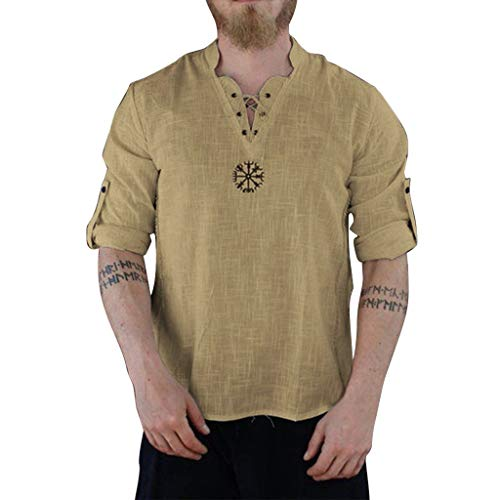 T-Shirts Mens GREFER Linen Classic Round Neck Long Sleeved Tops Summer Personality Lace up Basic T-Shirts Khaki