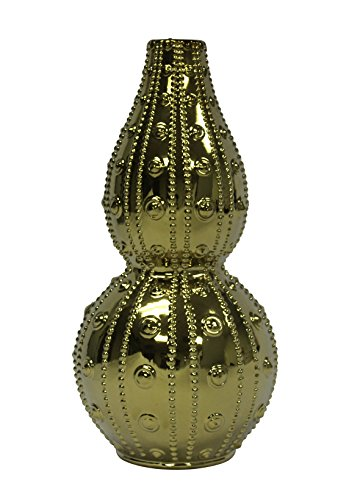 (Sagebrook Home 12066-01 Decorative Ceramic Double Gourd Vase, Gold Ceramic, 8.75 x 8.75 x 18)